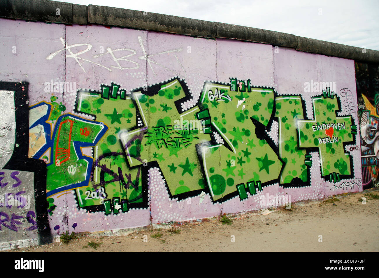 West side of the Berlin Wall, at the East Side Gallery, a 1.3km-long section of the wall near the centre of Berlin. - Stock Image