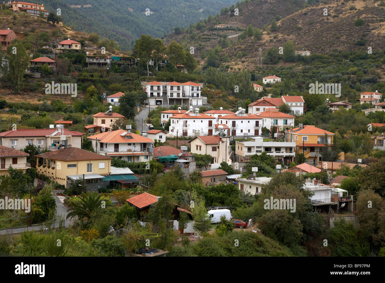 kakopetria village in the troodos mountains republic of cyprus europe - Stock Image