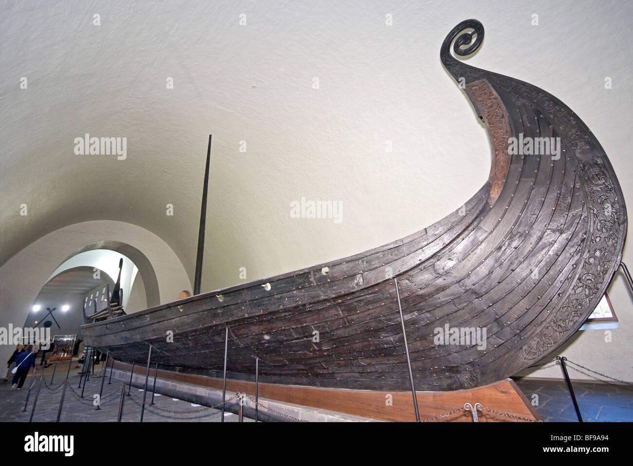 Oseburg Viking ship in Viking Ship Museum in Oslo, Norway. - Stock Image