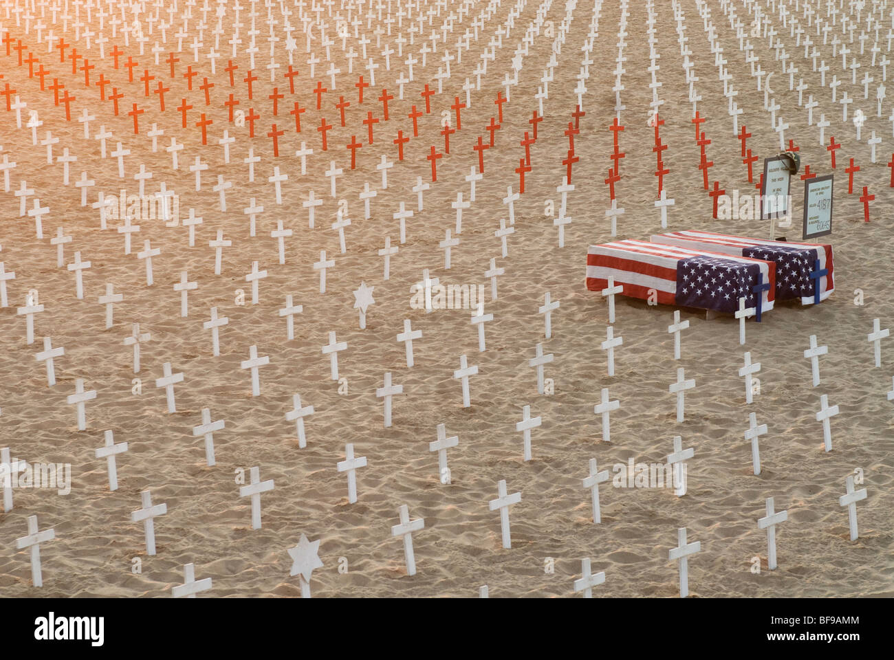 Iraq Memorial on beach near Santa Monica Pier; Santa Monica, CA - Stock Image