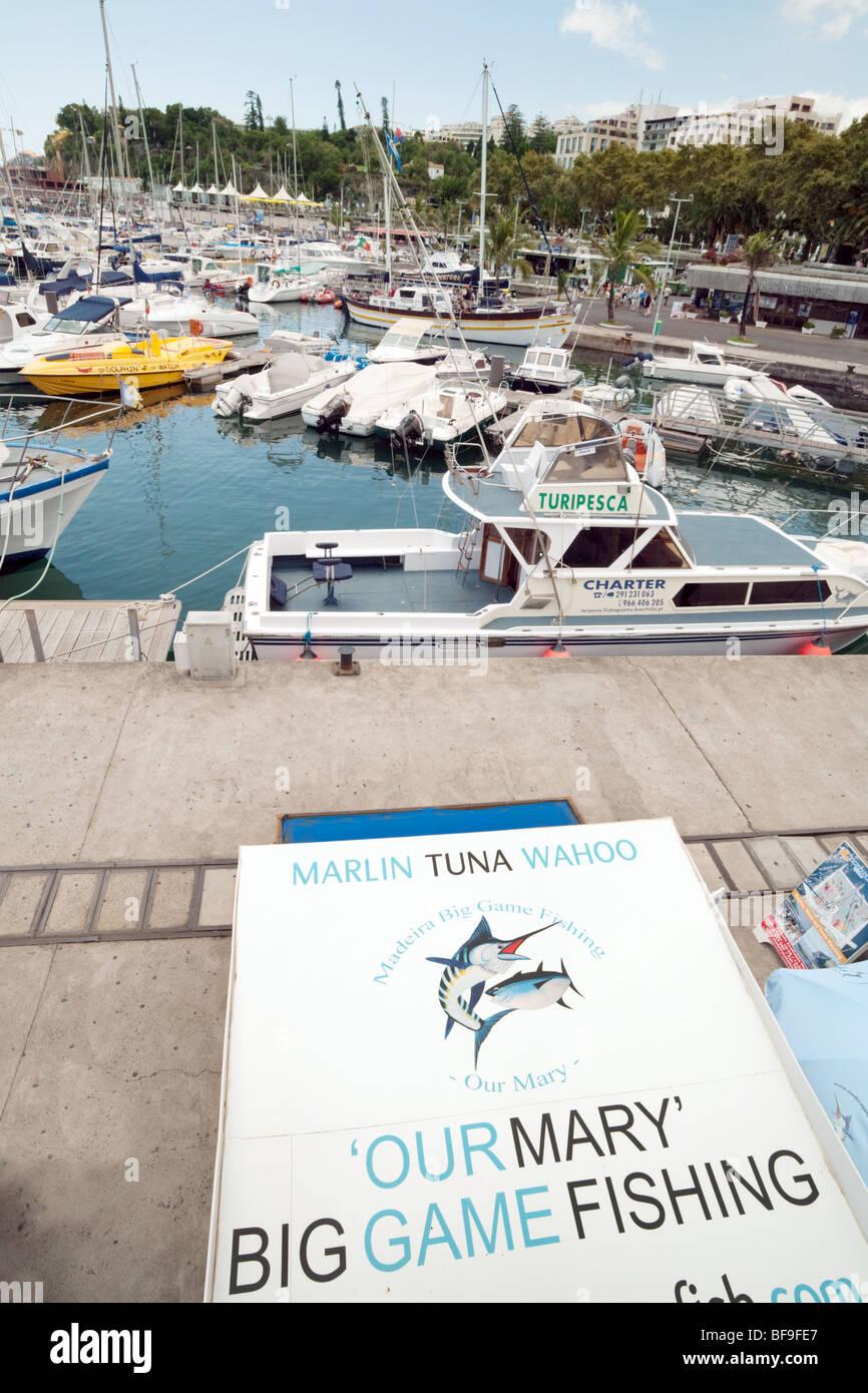 Big game fishing sign in Funchal Marina, Funchal, Madeira - Stock Image