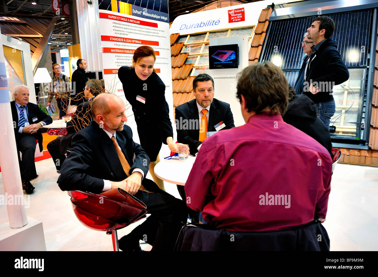 Paris, France, Business Meeting, Construction Equipment Trade Show,  Dupont Corporation Display, Green Energy - Stock Image