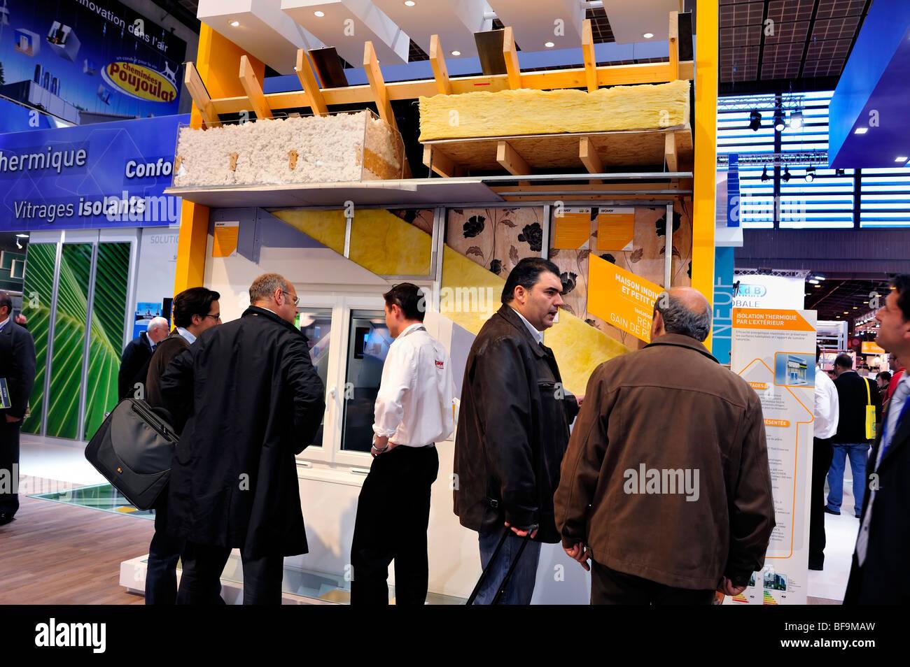 Paris, France, Group Men Talking, Business Meeting, Construction Equipment Trade Show, Salon Batimat,  Green Marketing - Stock Image
