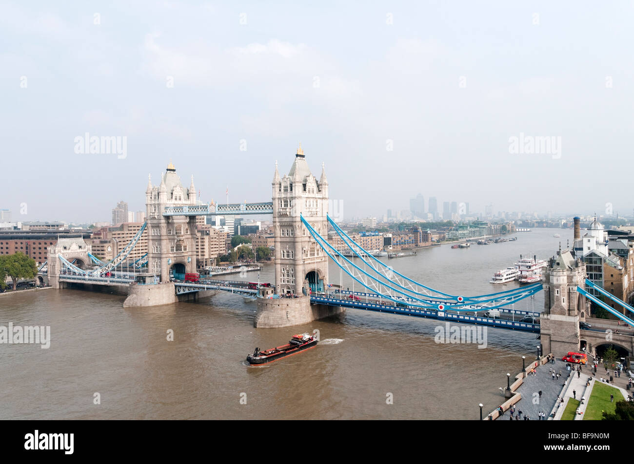 Tower Bridge and the river Thames on overcast day, London, England, Britain, UK - Stock Image
