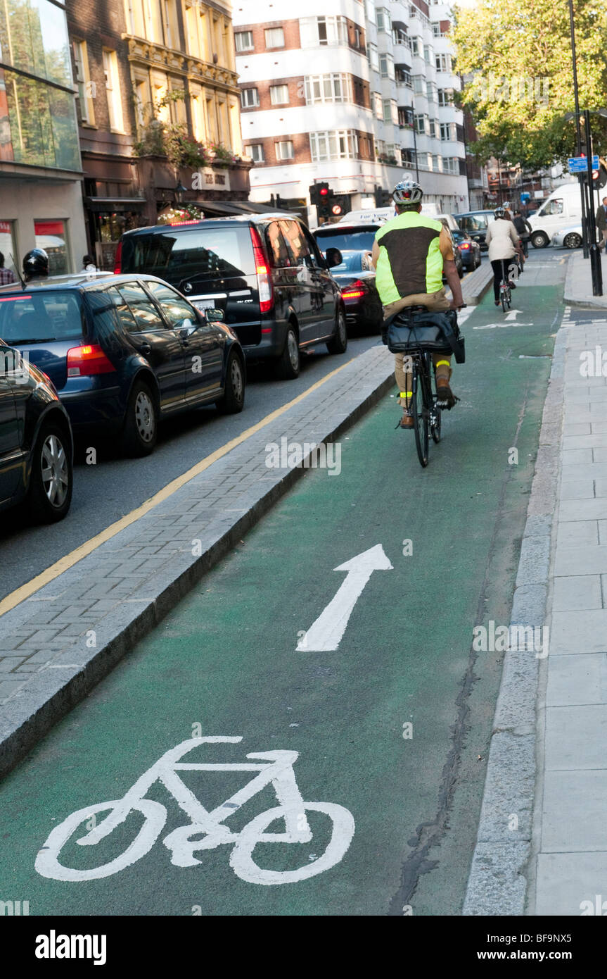 Cycle Lane in central London, England, UK - Stock Image