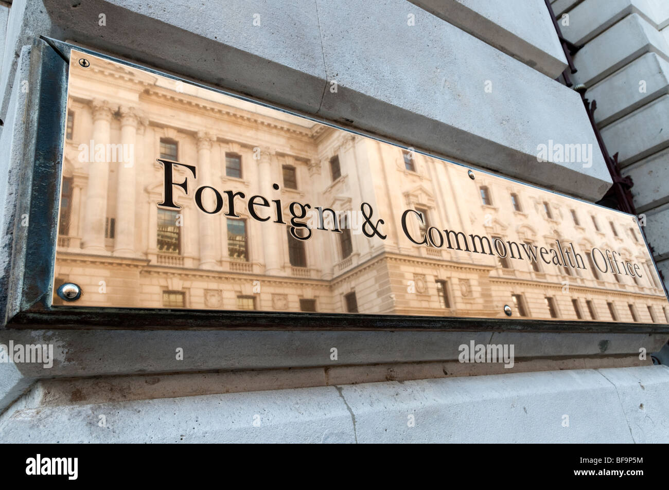 Brass plaque of the Foreign and Commonwealth Office, Whitehall, London, England, Britain, UK - Stock Image