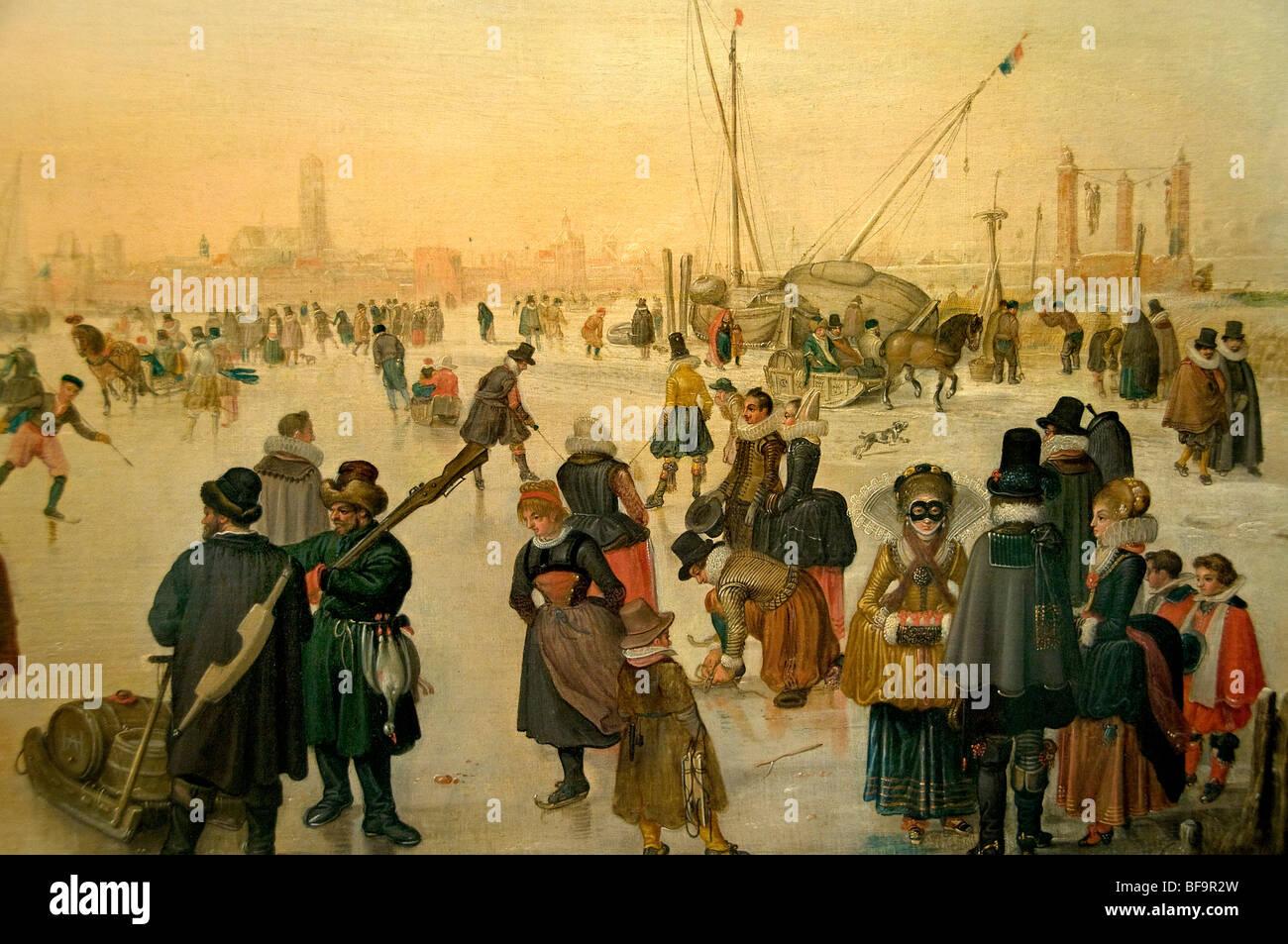 Hendrick Avercamp winter snow ice skate skating  near Kampen museum Netherlands - Stock Image