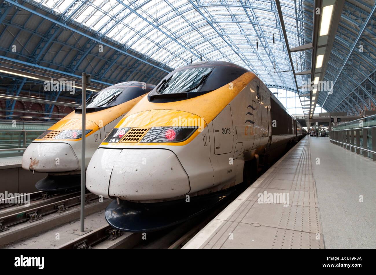 Eurostar trains in St Pancras International station, London, England, UK - Stock Image