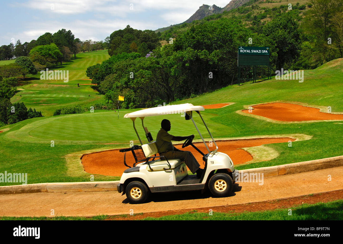 Electric golf cart on the 18-hole golf course of the Royal Swazi Spa Hotel Resort, Ezulwini, Swaziland - Stock Image