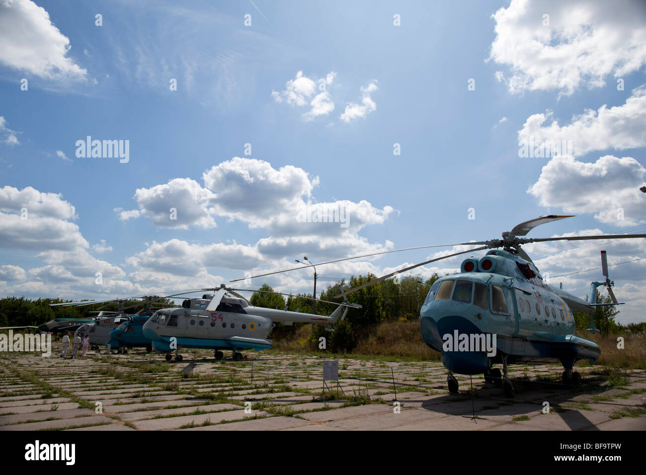 Historical helicopters stand in the Ukrainian aviation museum in Kiev-Zhulyany. - Stock Image