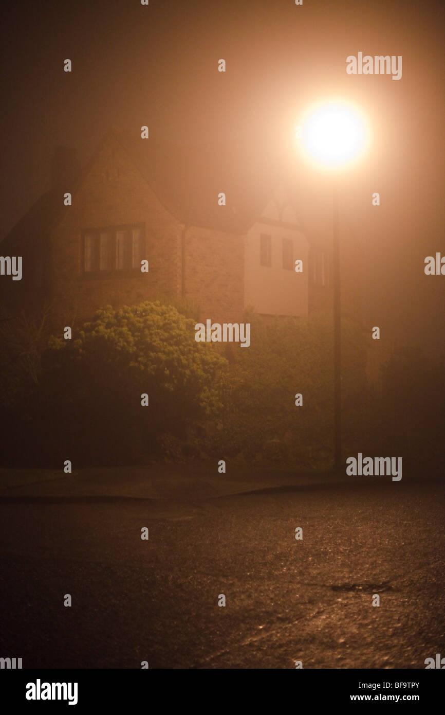Fog and street lamps, Magnolia neighborhood, Seattle, Washington - Stock Image
