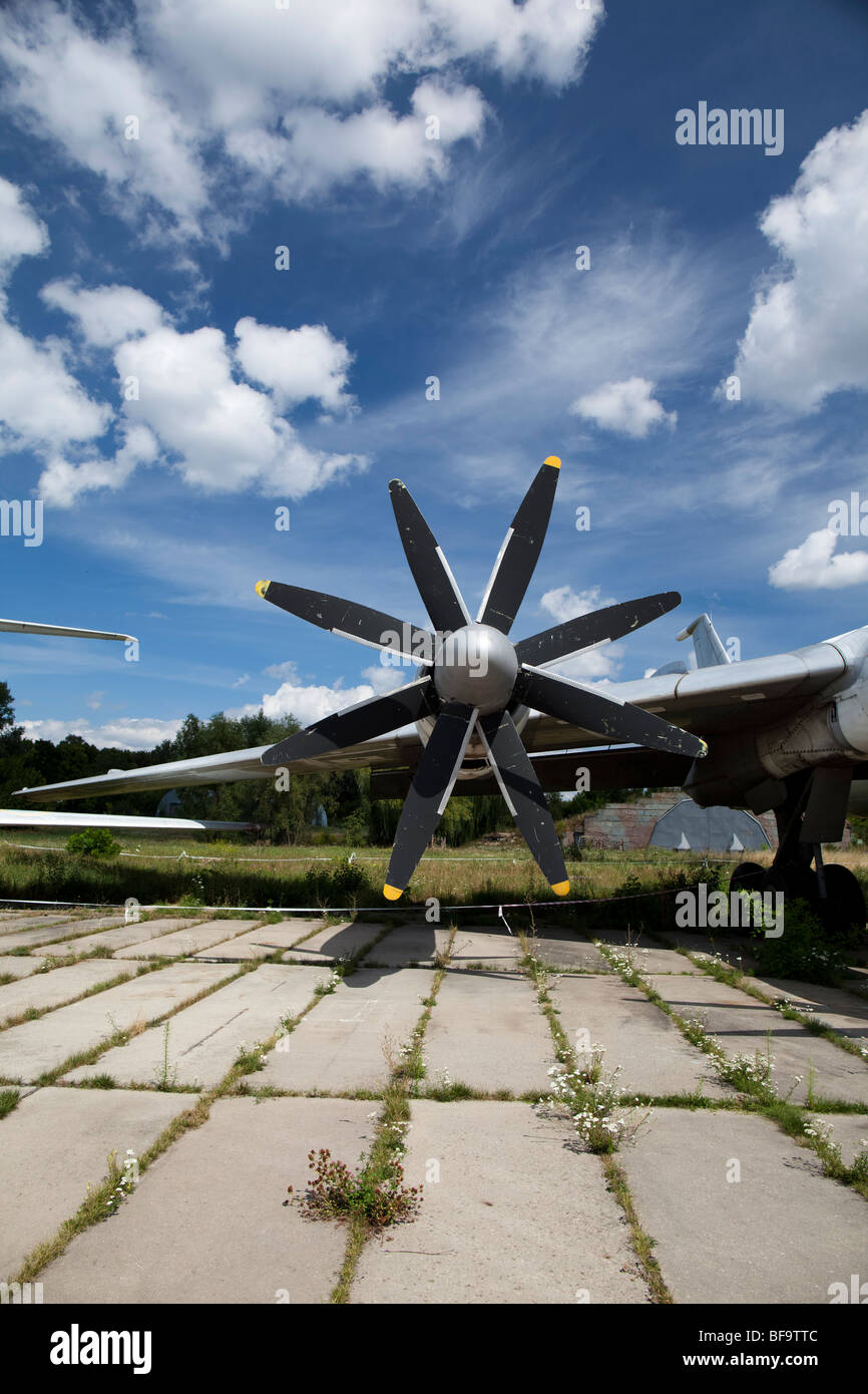 Airscrew of a military airplane in the Ukrainian aviation museum in Kiev-Zhulyany. - Stock Image