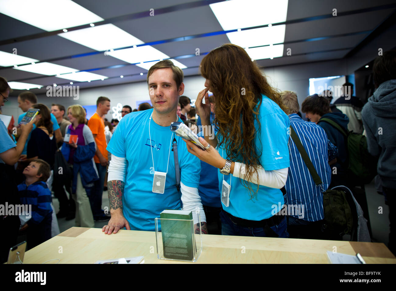 Second German Apple store opening in the Alstertal shopping center in Hamburg, Germany. - Stock Image