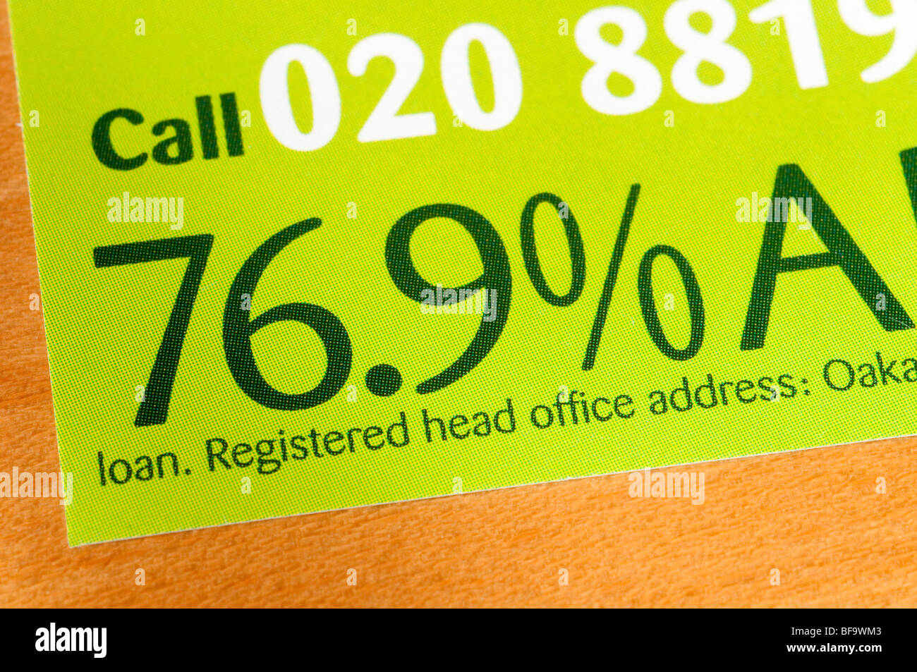 Exorbitantly high interest rate on Oakam loan company leaflet - Stock Image