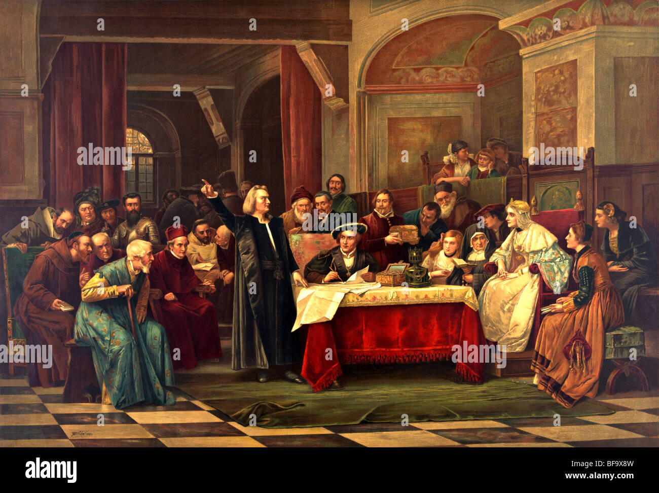 Print c1884 showing Christopher Columbus seeking financial backing from Ferdinand and Isabella at the Royal Court of Spain. Stock Photo