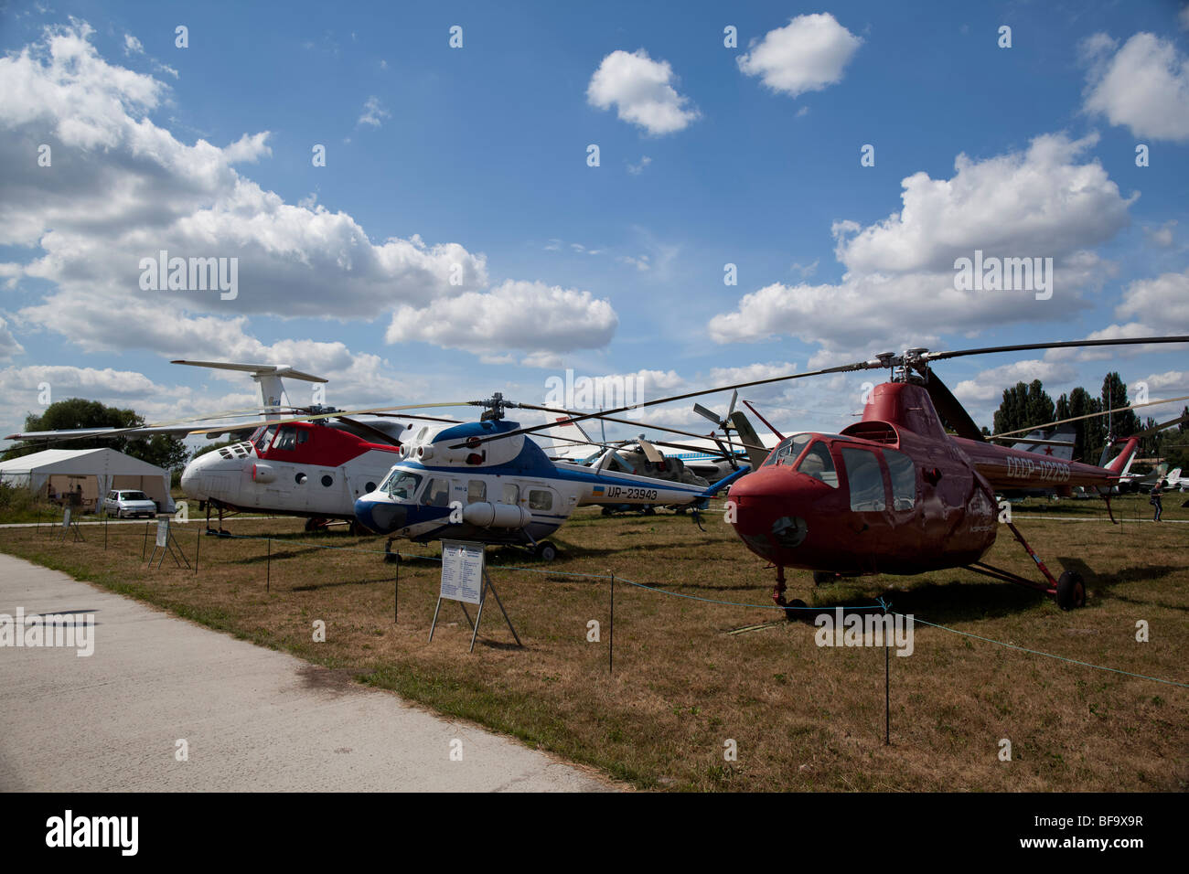 Historical helicopter are seen in the Ukrainian aviation museum in Kiev-Zhulyany. - Stock Image