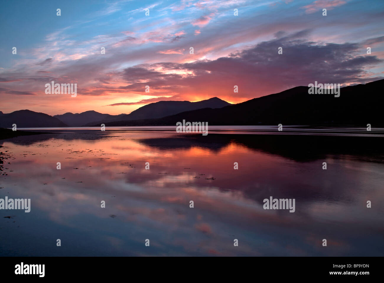 Sunset at Loch Linnhe, near North Ballachulish, Highlands, Scotland, UK - Stock Image