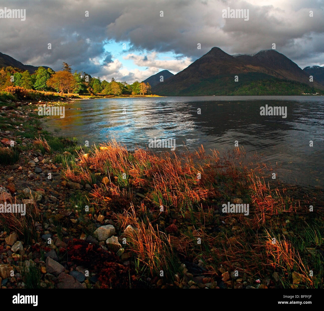 Loch Leven and Pap of Glencoe, near North Ballachulish, Highlands, Scotland, UK - Stock Image