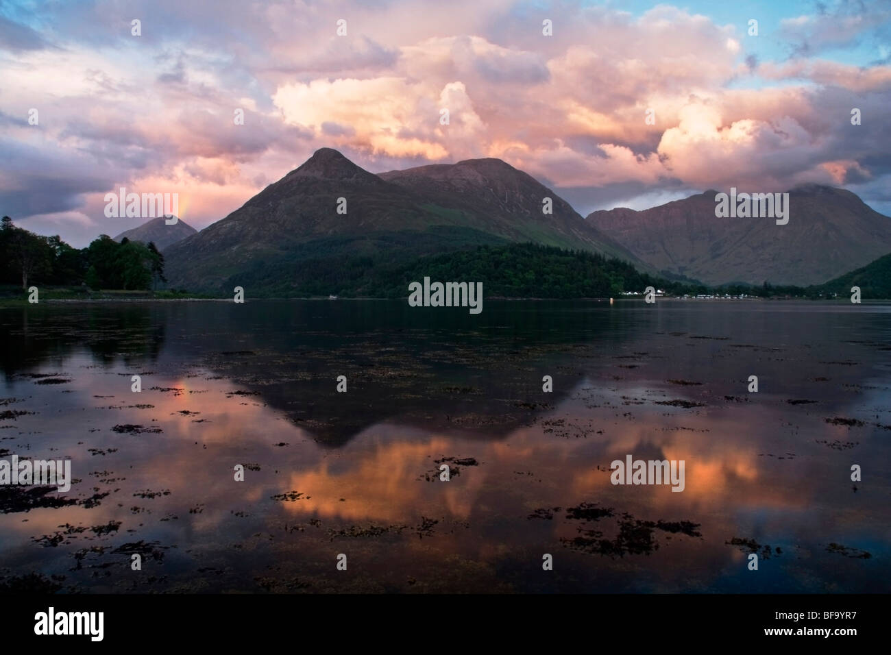 Loch Leven and Pap of Glencoe at sunset, Highlands, Scotland, UK - Stock Image