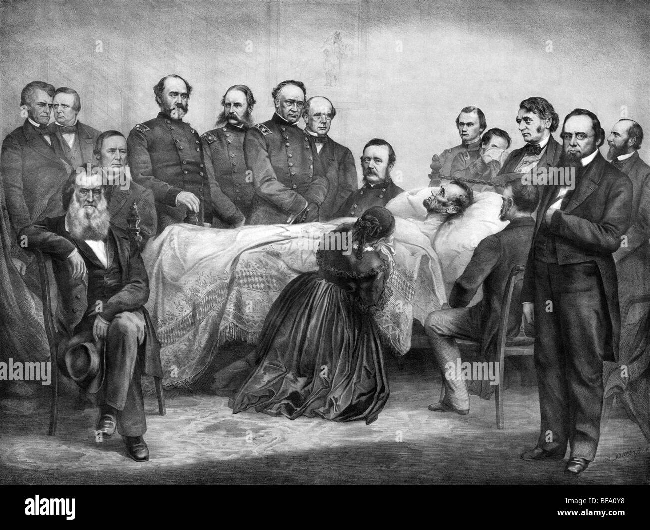 Print circa 1865 showing US President Abraham Lincoln on ...