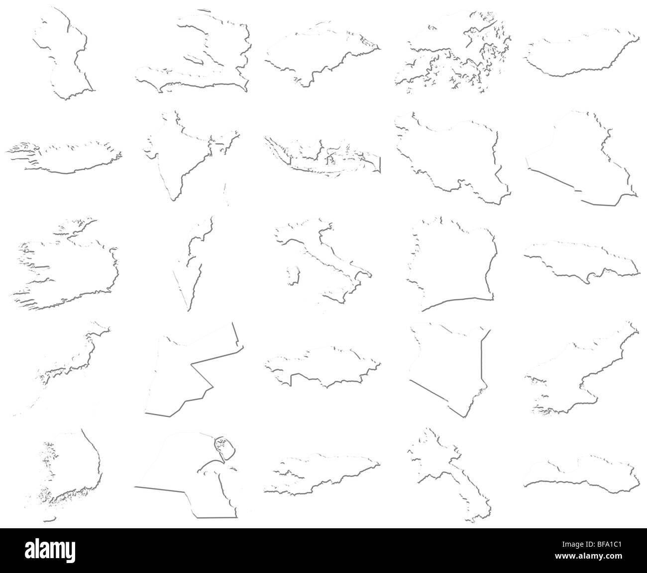 Guyana-Latvia 3D White Maps - Stock Image