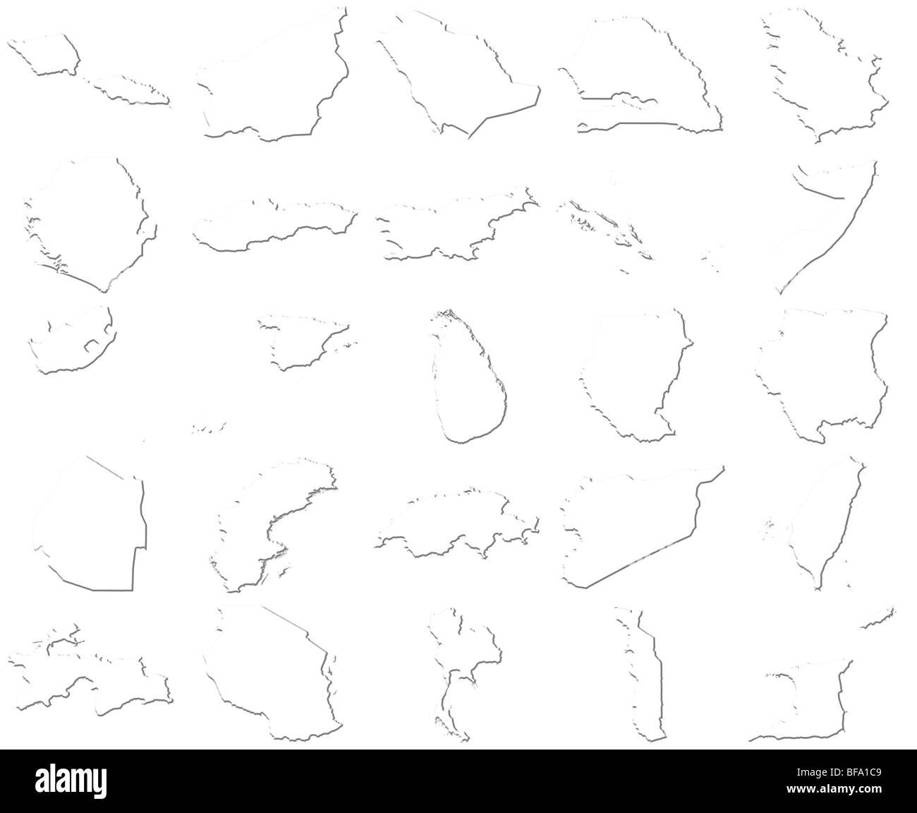 Samoa-Trinidad and Tobago 3D White Maps - Stock Image