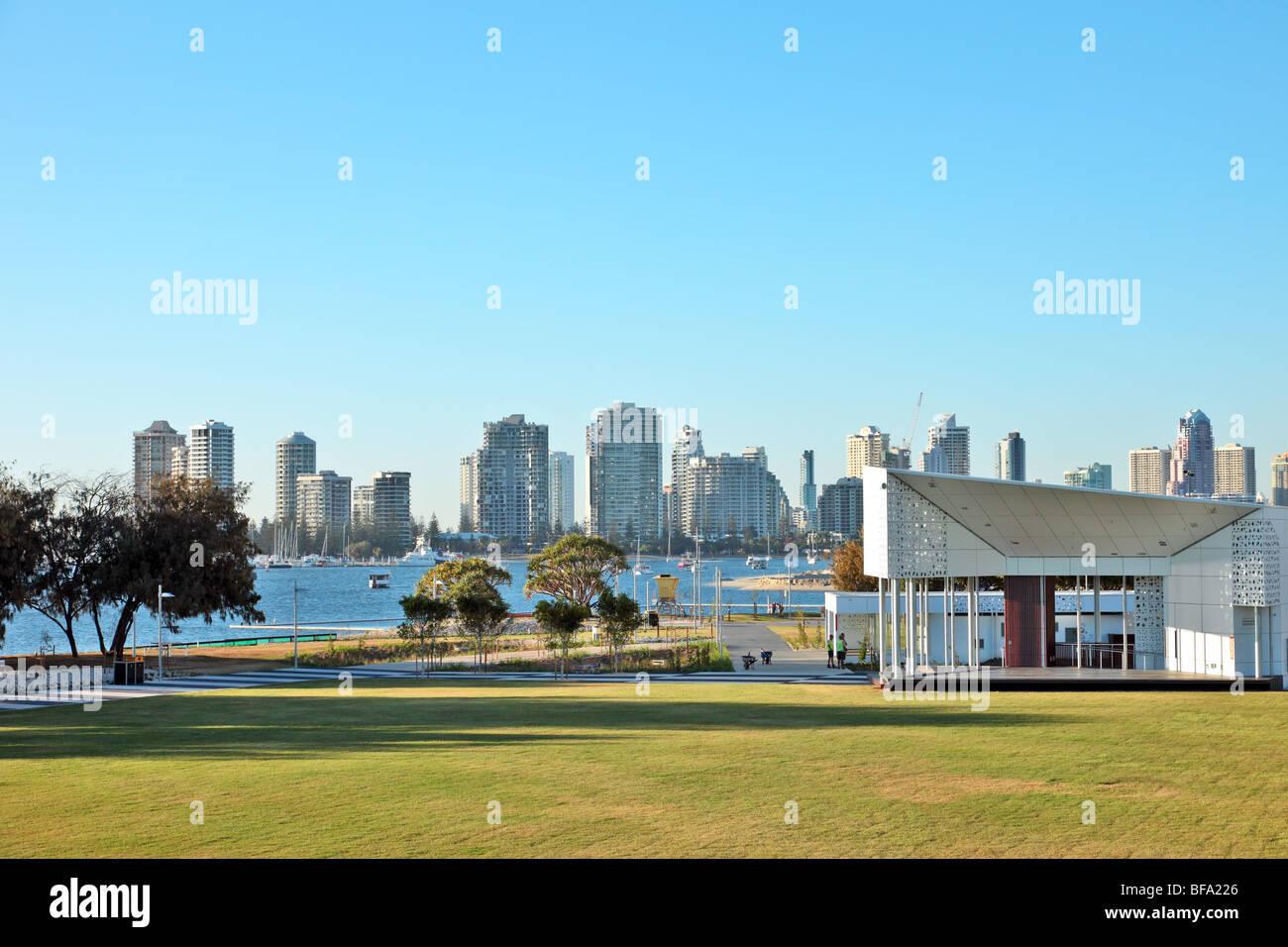 Modern city skyline of Surfers Paradise Queensland Australia - Stock Image