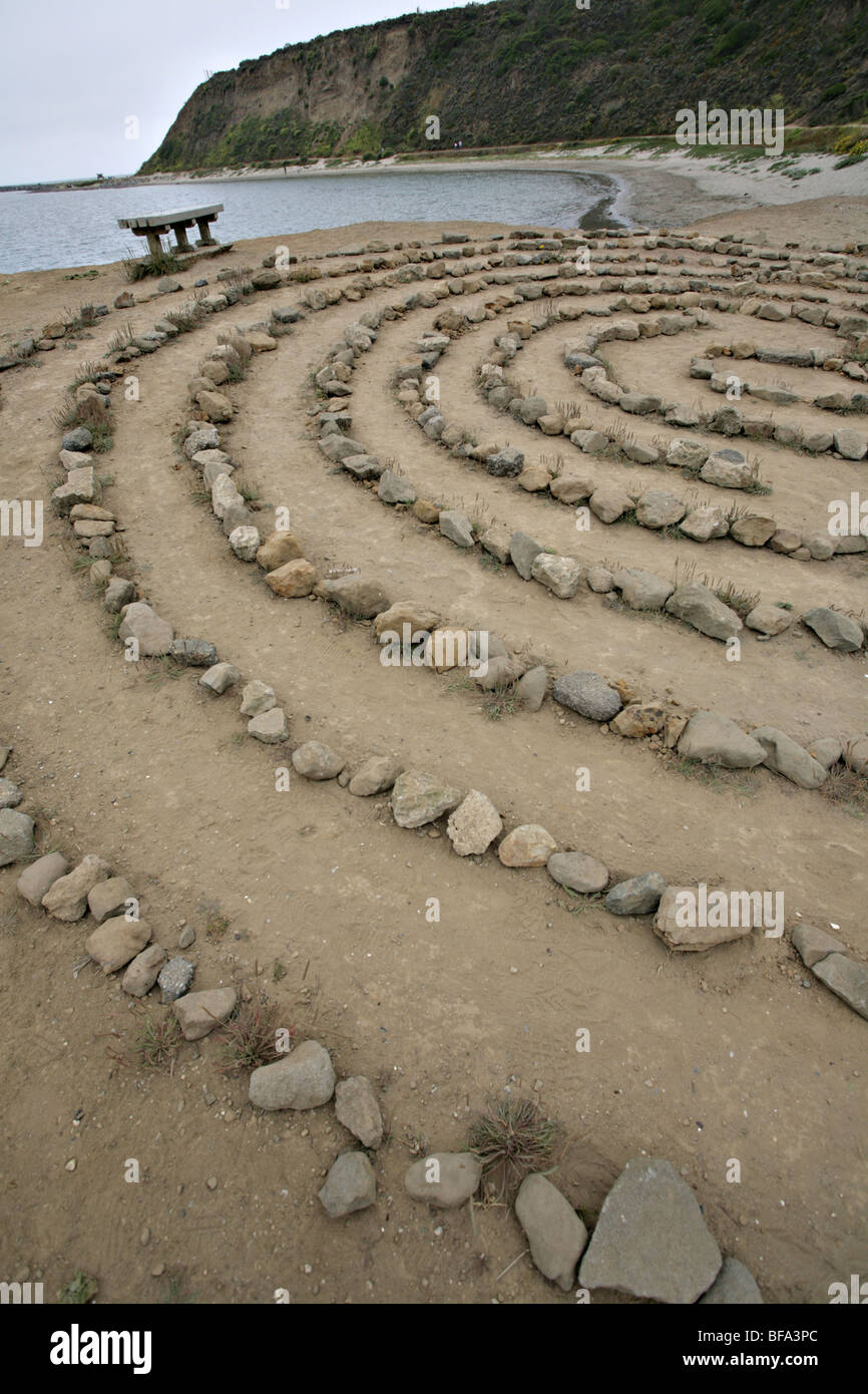 Mysterious maze of rocks by the sea, Half Moon Bay, California. - Stock Image