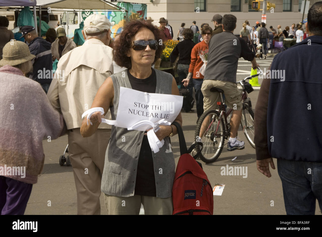 Antinuclear activist informing the public about the dangers of nuclear reactors and weapons in Brooklyn, New York. - Stock Image