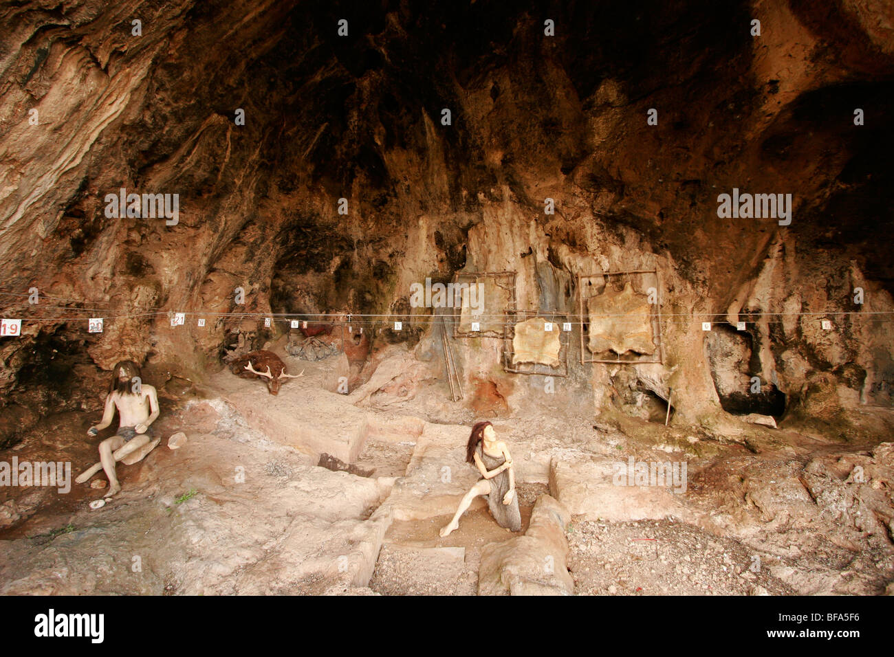 Israel, Mount Carmel. Camel Cave, which has an exhibition of tools used during the Mousterian culture period - Stock Image
