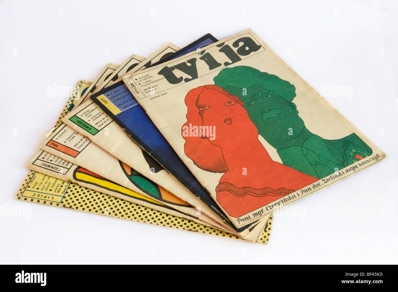 Six editions of Ty i Ja, 'You and Me' Illustrated Polish Magazine collection from 1972, front cover by W. Świerzy - Stock Image