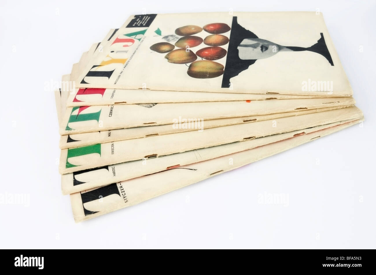 Seven copies of Ty i Ja, 'You and Me' Illustrated Polish Magazine collection from 1961, front cover by R. Cieślewicz - Stock Image