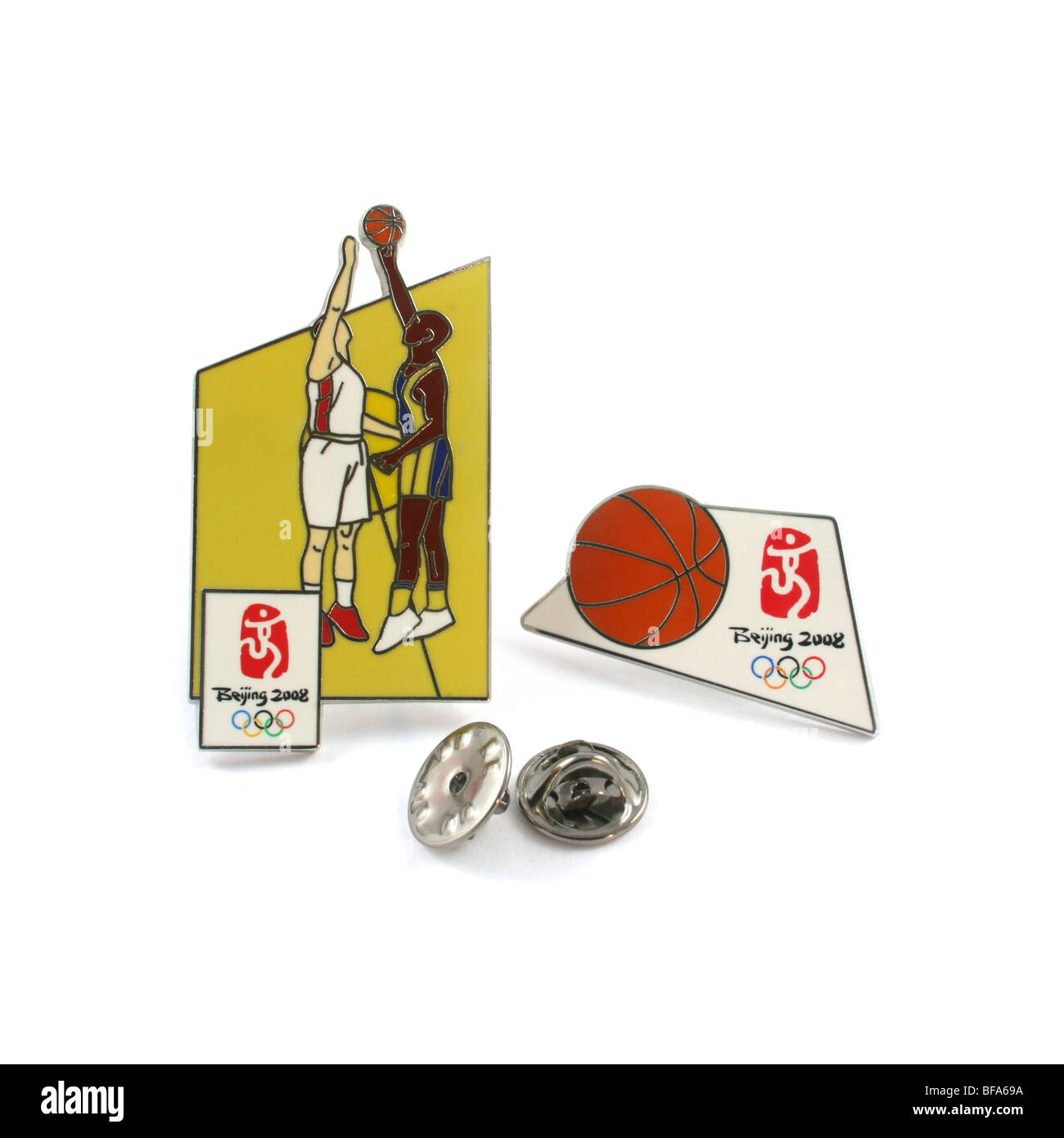 2008 Beijing Olympic Games souvenir pins for basketball. - Stock Image