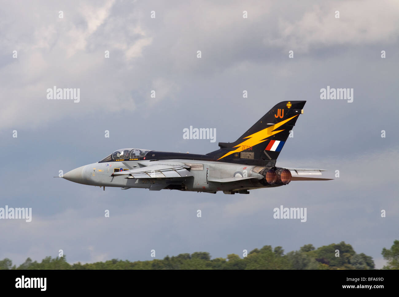 ZE734 Royal Air Force Panavia Tornado F3 jet fighter taking off from Fairford - Stock Image