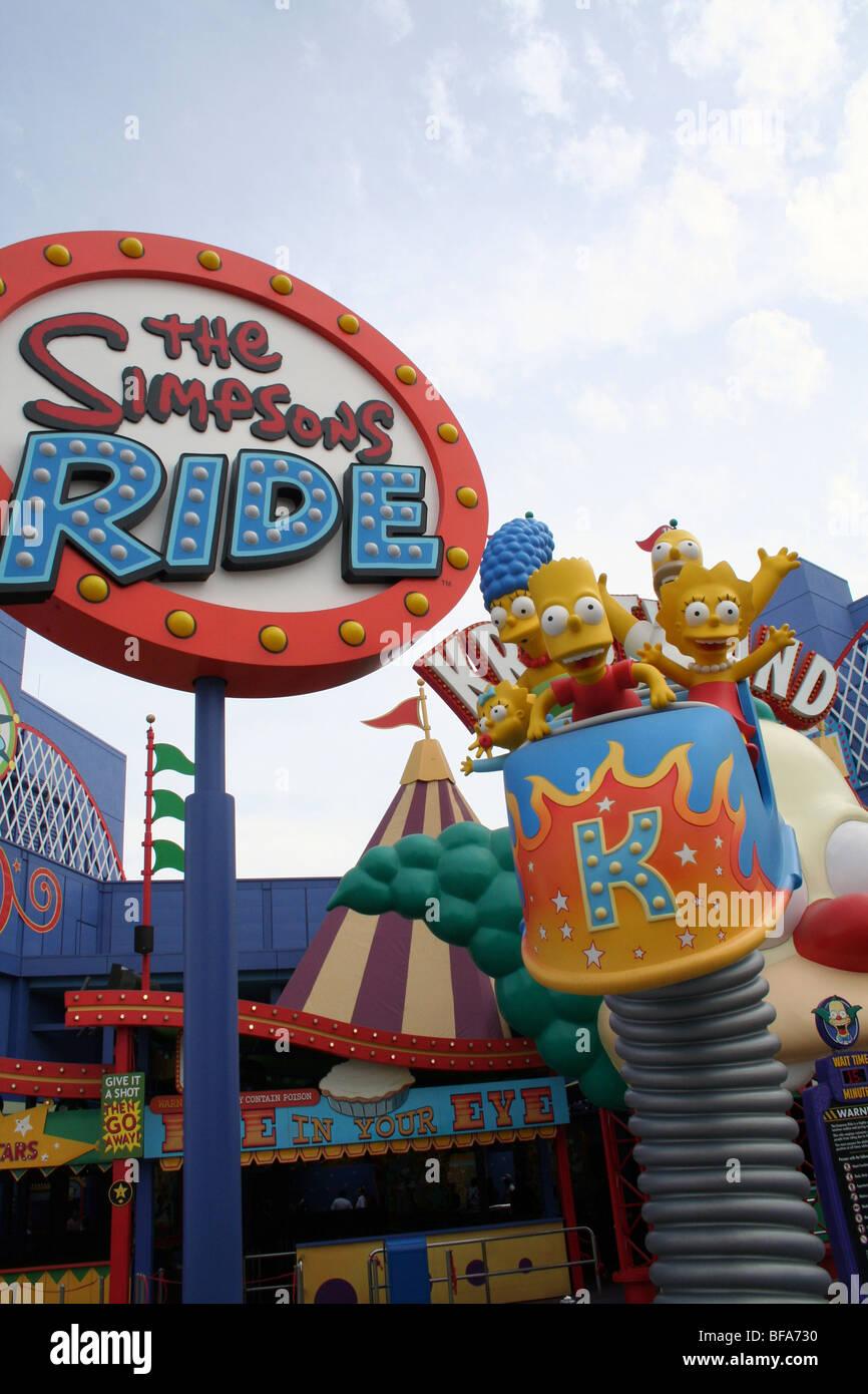 The Simpsons ride at Universal Studios California - Stock Image