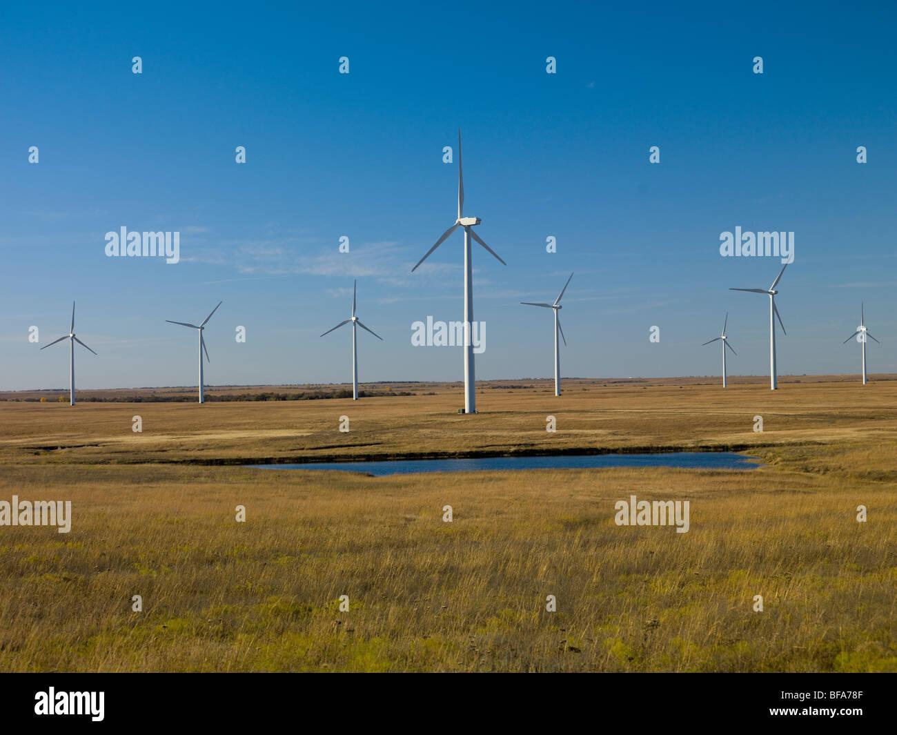 Wind Farm; Beaumont Kansas USA - Stock Image