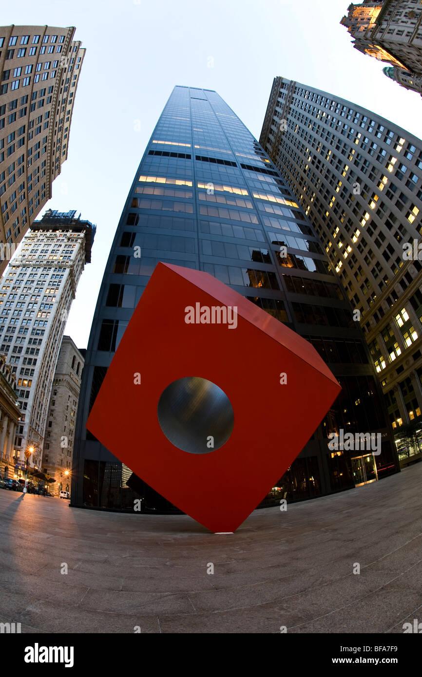 """Isamu Noguchi's """"Red Cube"""", New York Stock Photo"""