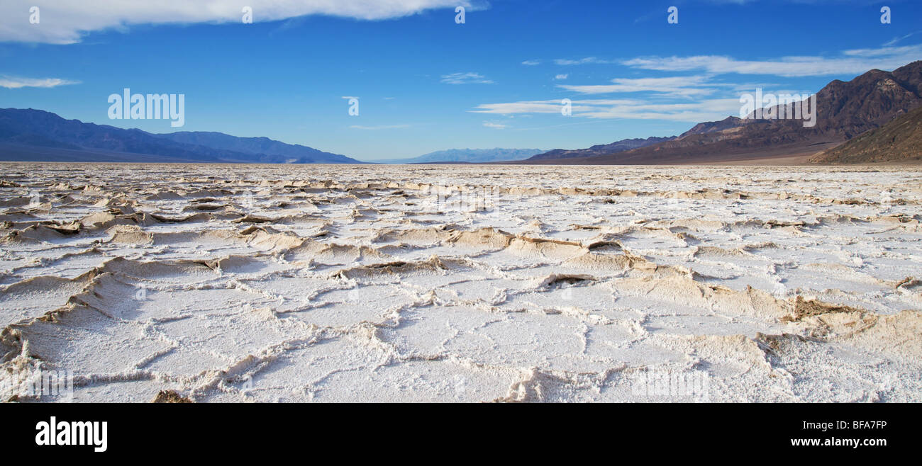 Salt flats at Badwater, Death Valley, CA Stock Photo