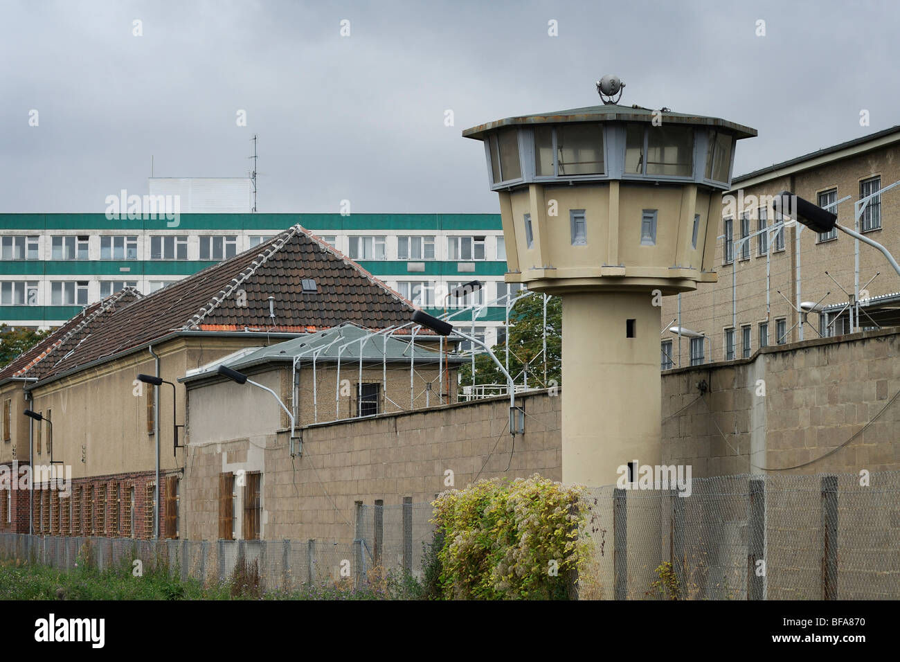 Berlin. Germany. Hohenschönhausen Memorial. Watchtower on the perimeter of the former STASI prison. - Stock Image