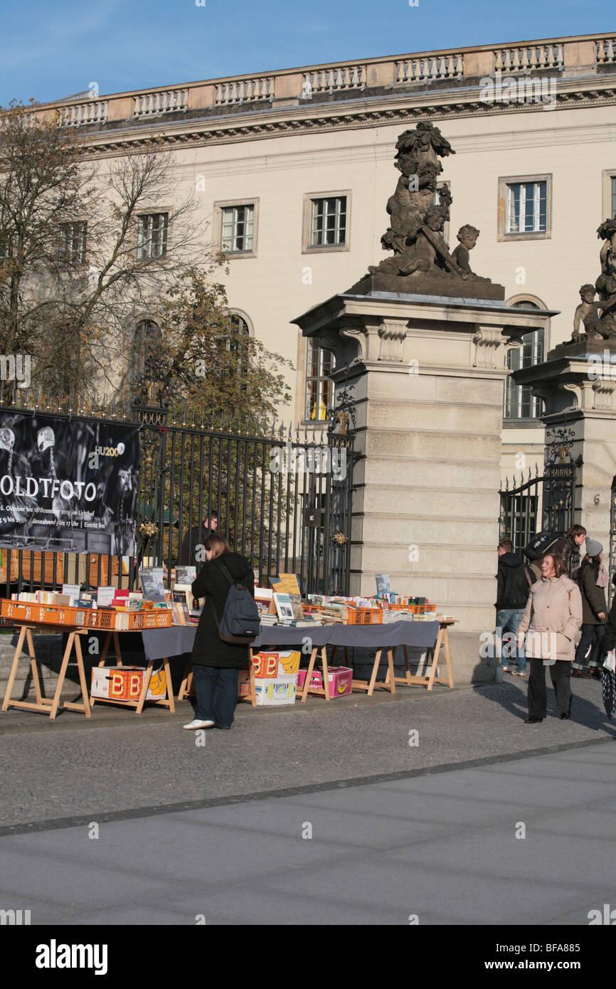 Bookstalls outside The Humboldt Universitat University Unter Den Linden Berlin Germany Deutschland - Stock Image