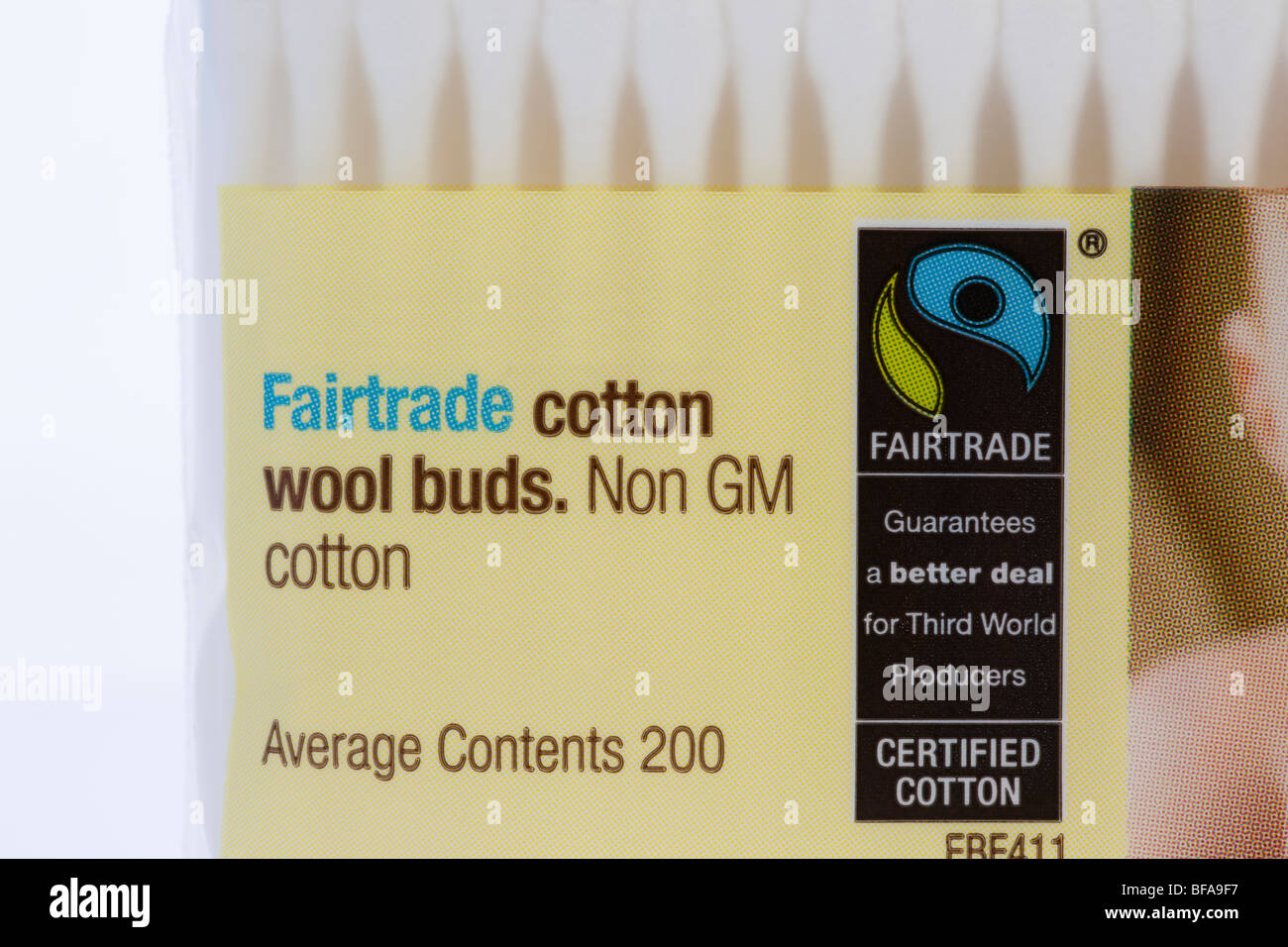 Britain UK Europe. Packet of Fairtrade cotton wool buds made from non-GM cotton with fair trade logo on the label - Stock Image