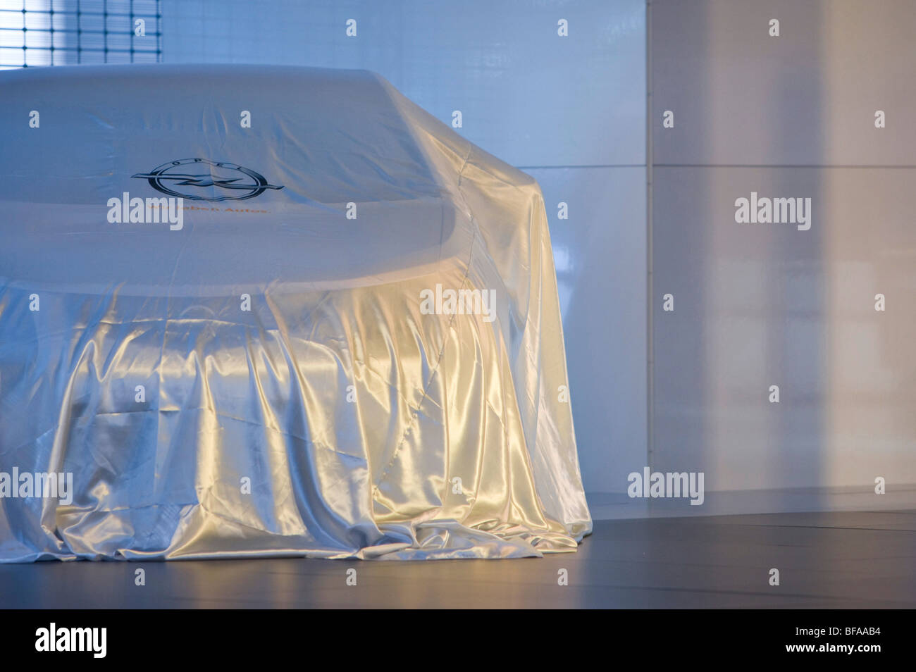 Covered Opel Astra at the IAA in Frankfurt am Main . Stock Photo