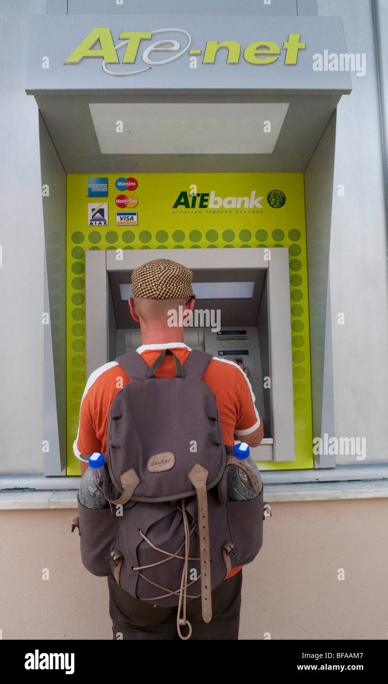 ATM of the ATE Bank in Greece . - Stock Image