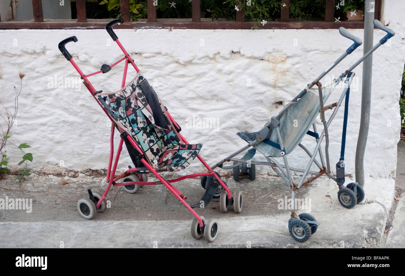 Baby carriages in Greece . Stock Photo