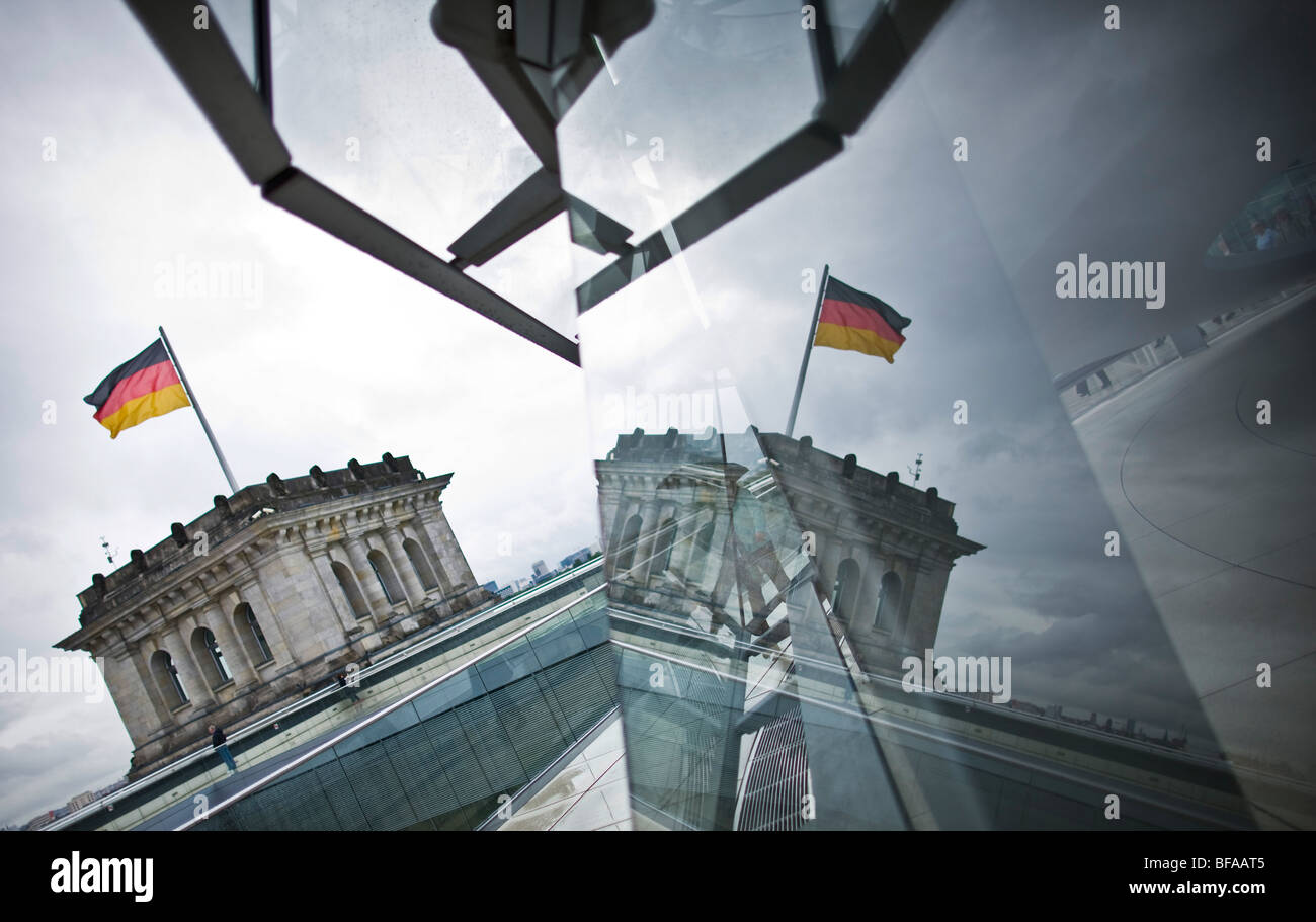 Reflection in the cupola of the Reichstag Stock Photo