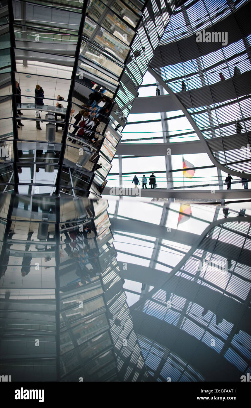 Cupola of the Reichstag - building in Berlin that houses the German parliament. Stock Photo