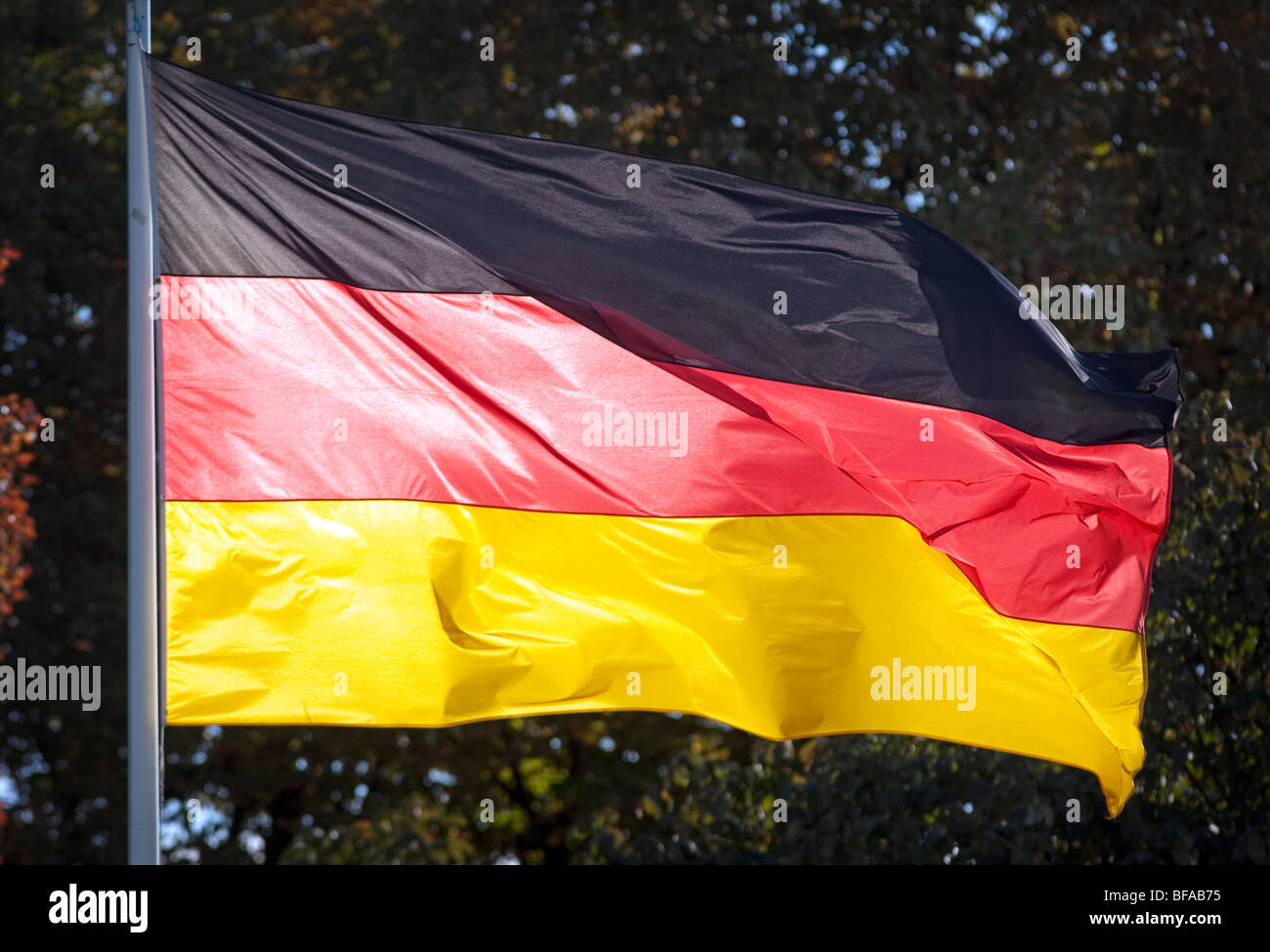 German Flagg at the Castle Bellevue, Germany - Stock Image