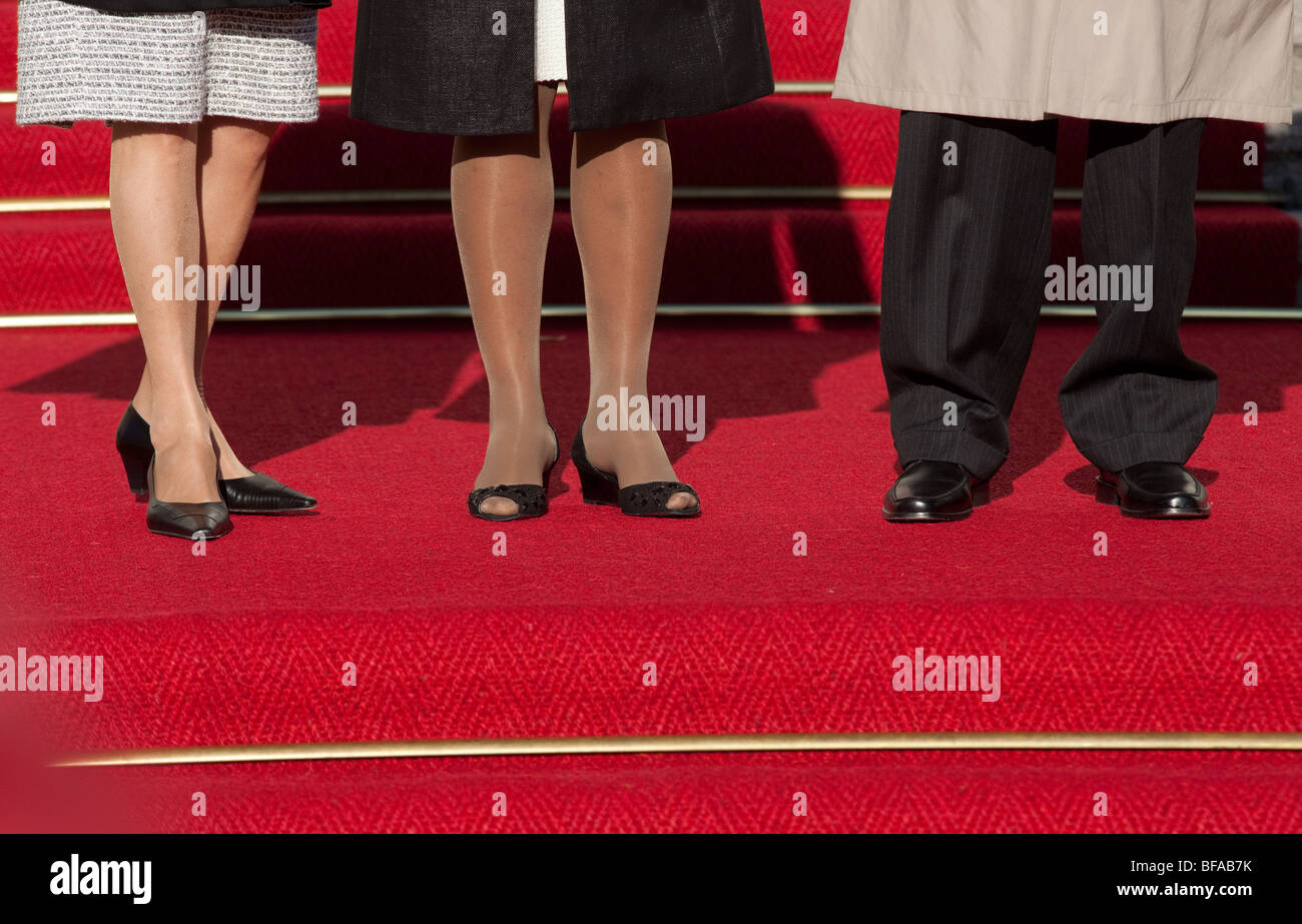 Political Guest on the red carpet Teppich in the Castle Bellevue , Germany - Stock Image