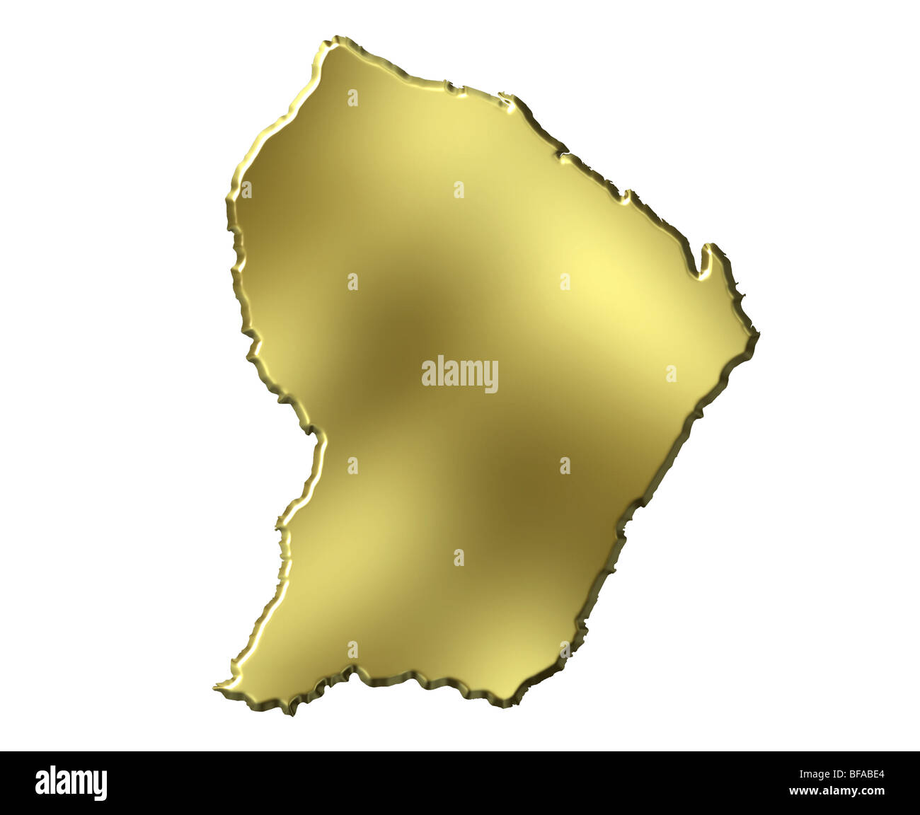 French Guiana 3d golden map - Stock Image