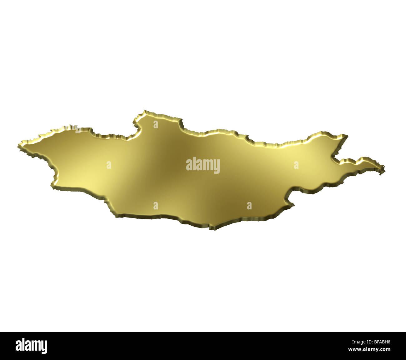 Mongolia 3d golden map - Stock Image